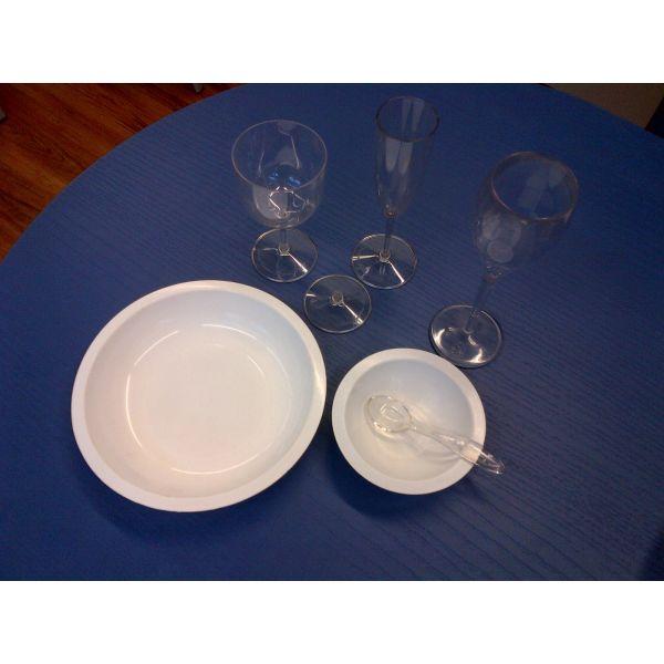 Set aperitivo, calice, cucchiaino, flute, piatto, ciotola